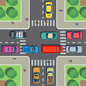 Crossroad top view. Road intersection with crosswalk, cars and people on sidewalk. Vector illustration. Street urban with transport on cross road