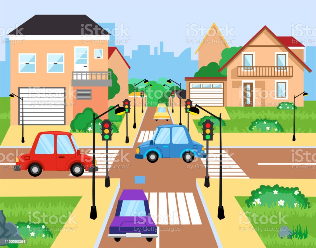 Crossroad With Cars City Suburb Traffic Jam Street Crosswalk With Traffic Lights And Road Intersection Intersections Transportation Vehicle Crossing Roads Cityscape Cartoon Vector Illustration Stock Illustration Download Image Now Istock
