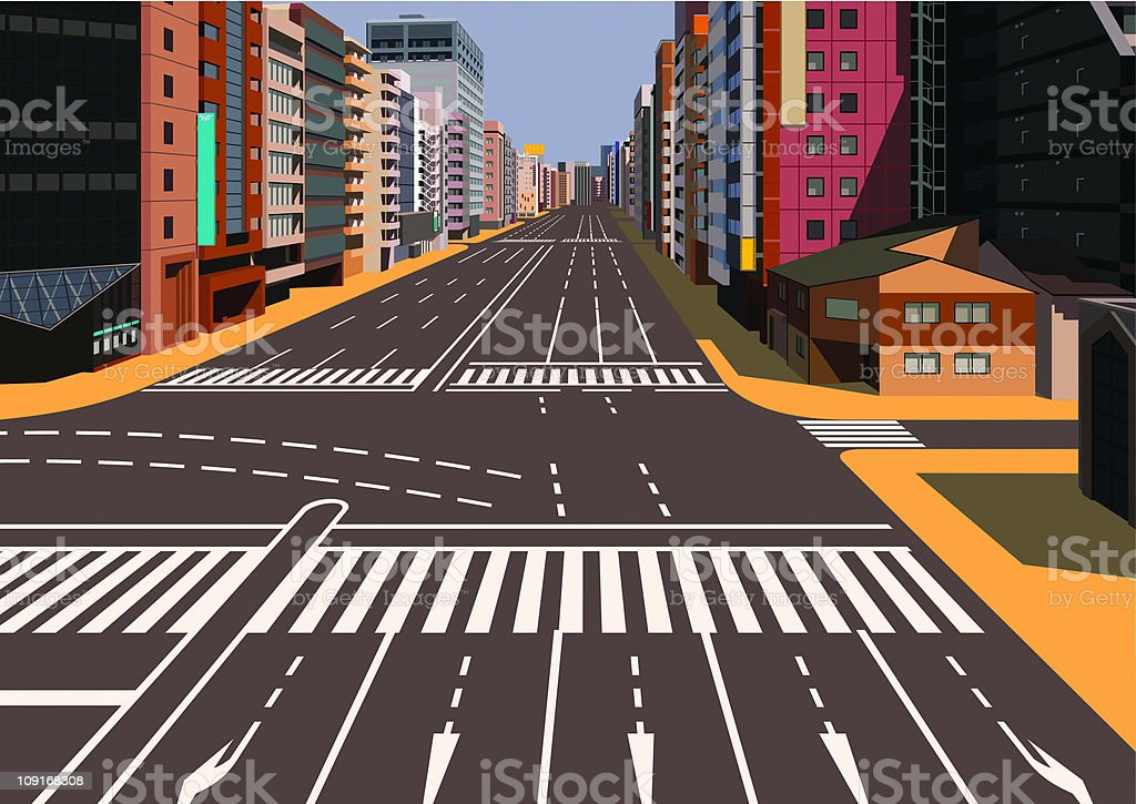 crossroads and sign in city vector art illustration