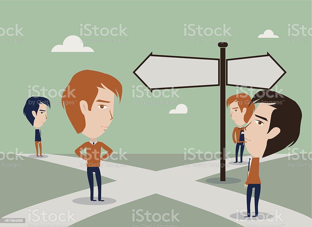 Crossroads dilemma vector art illustration