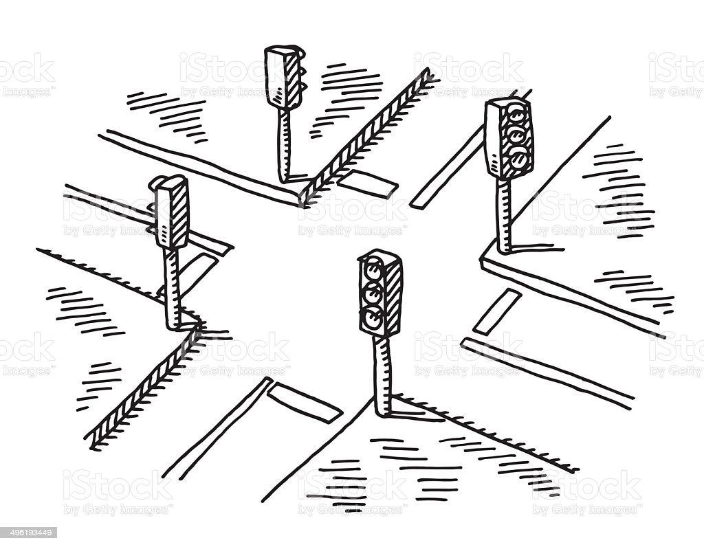 Crossroads Traffic Lights Drawing royalty-free stock vector art