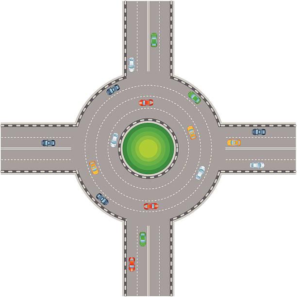 illustrations, cliparts, dessins animés et icônes de crossroads - rond point