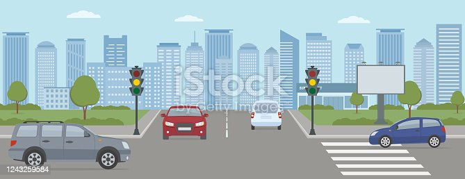 istock Crossroads with cars and traffic lights. Modern city life illustration. 1243259584