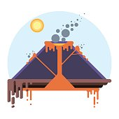 Cross-section of volcano. Eruption scheme on flat style vector infographic