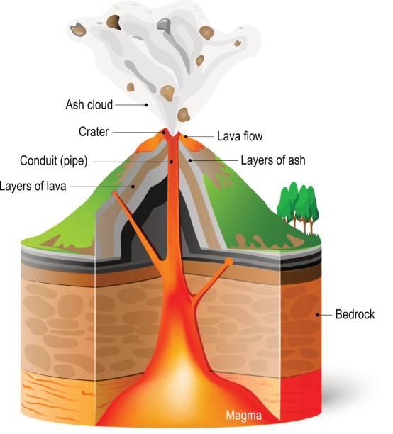 querschnitt des vulkans - vulkane stock-grafiken, -clipart, -cartoons und -symbole