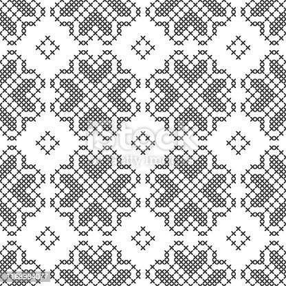 Cross-stitch, embroidery. Black and white seamless decorative pattern. Ornamented background for design, wallpaper, textile or cover. Illustration.