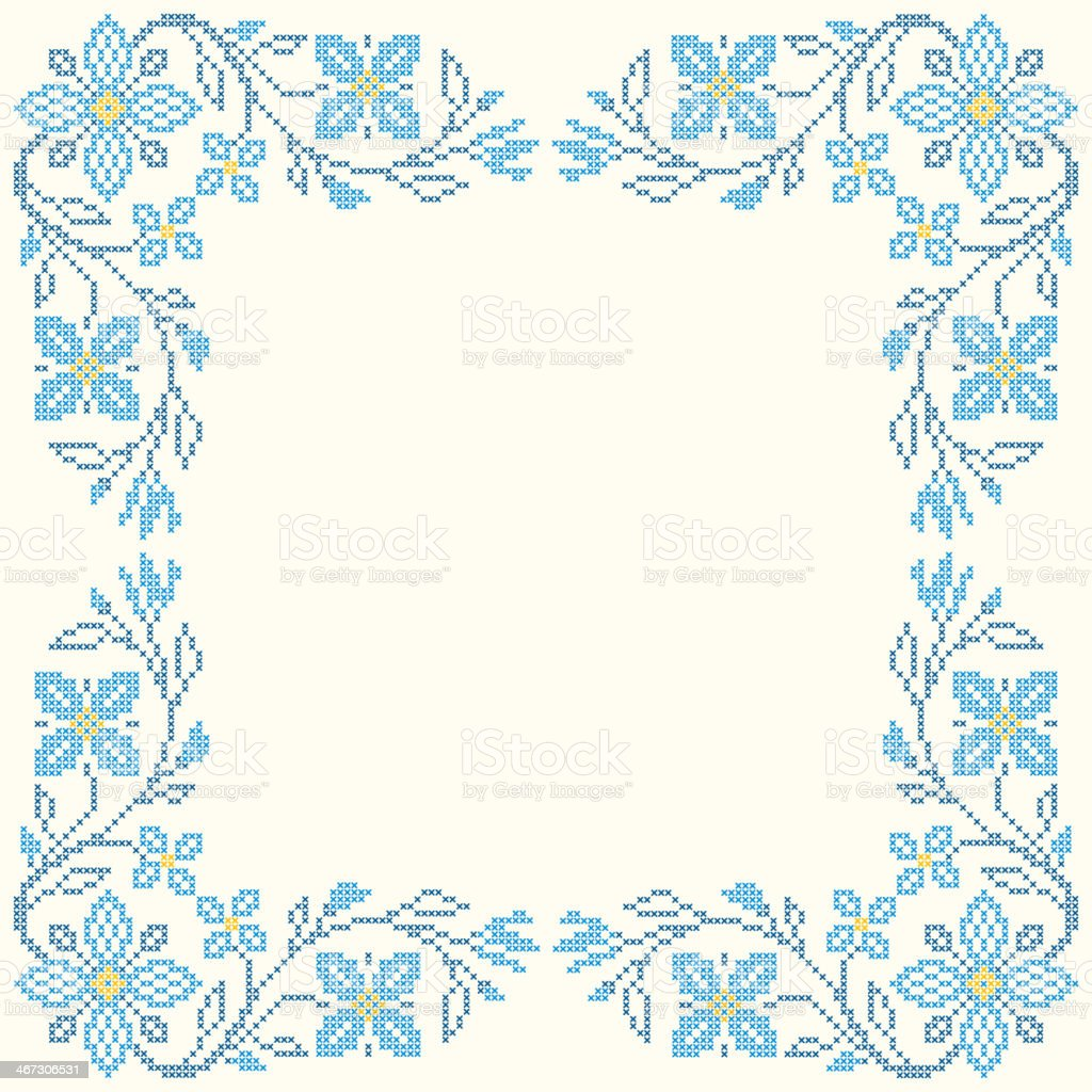 Cross-stitch embroidery in Ukrainian style royalty-free stock vector art