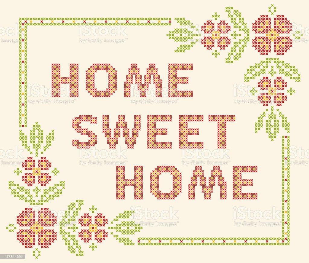 Royalty Free Home Sweet Home Embroidery Clip Art Vector Images