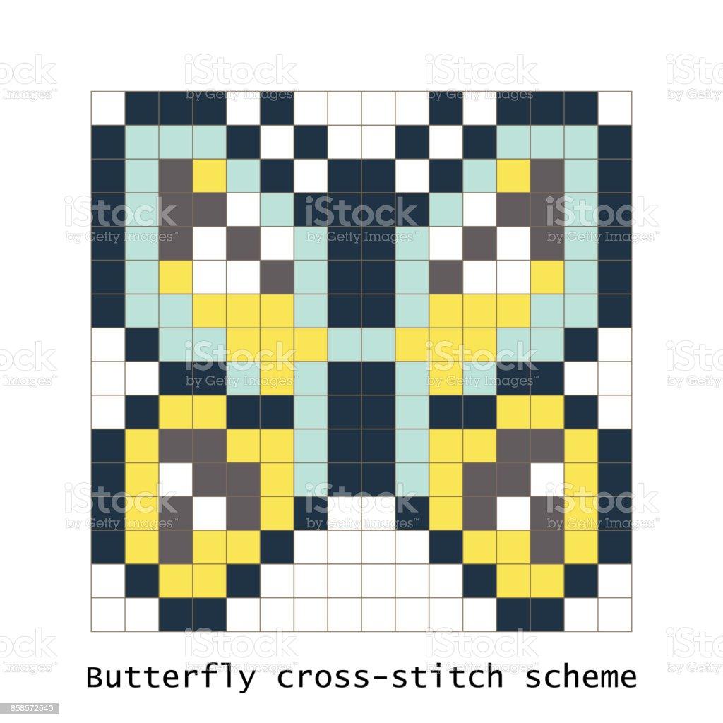 Point De Croix Pixel Art Papillon Set Vector Vecteurs Libres