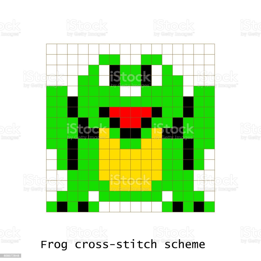 Crossstitch Pixel Art Frog Animals Vector Set Stock Illustration Download Image Now Istock