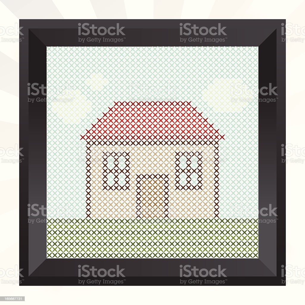 cross-stitching picture royalty-free crossstitching picture stock vector art & more images of cloud - sky