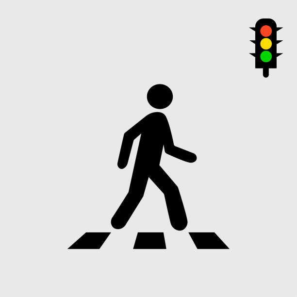 crosswalk and pedestrian - ходьба stock illustrations
