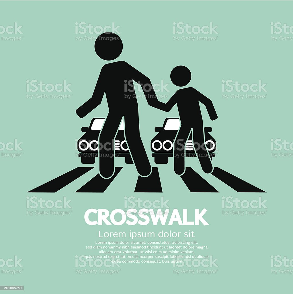 Crosswalk Graphic Sign vector art illustration