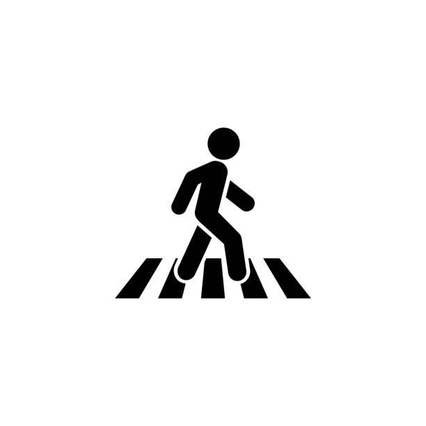 crosswalk symbol symbol symbol logo-vorlage. vektor - fußgänger stock-grafiken, -clipart, -cartoons und -symbole