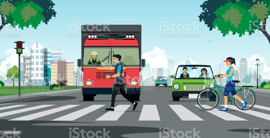 A crosswalk in the city royalty-free a crosswalk in the city stock illustration - download image now