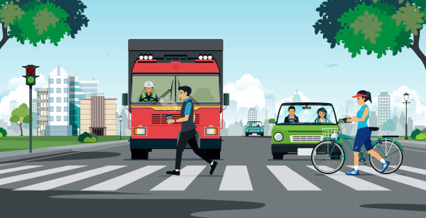 illustrazioni stock, clip art, cartoni animati e icone di tendenza di a crosswalk in the city - marciapiede