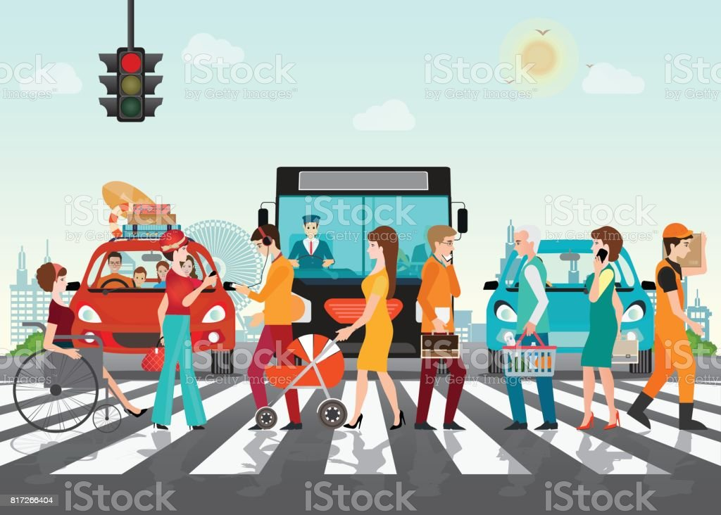 Crosswalk path on the road with cars. vector art illustration