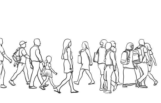 Crosswalk People Variety vector art illustration