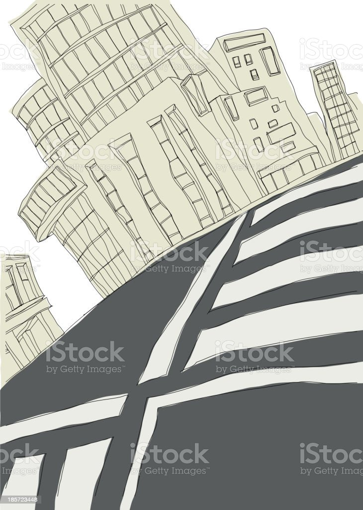 crosswalk with building on road royalty-free crosswalk with building on road stock vector art & more images of architecture