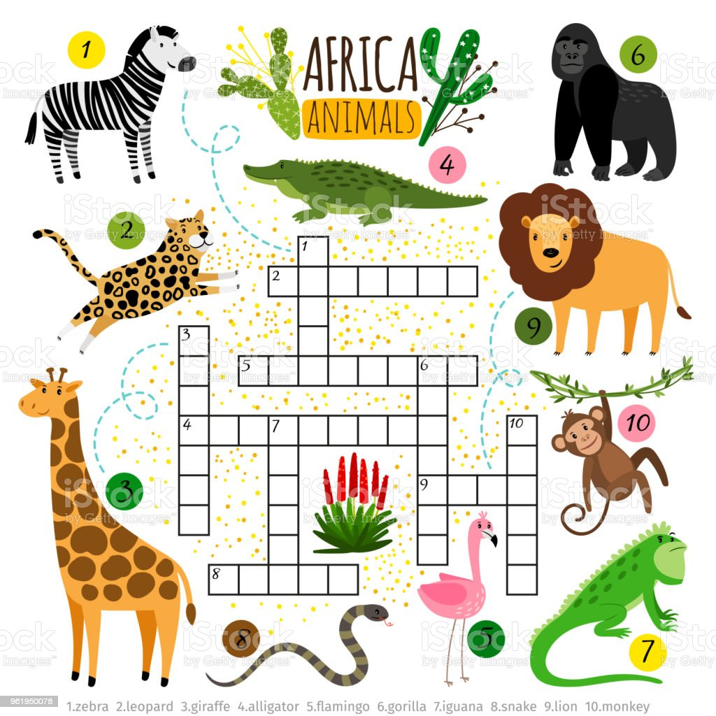 Crossword africa animals. Kids zoo african crossword for school...