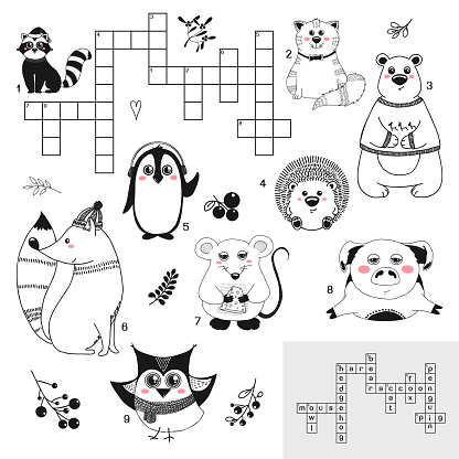 Crossword. Education game for children with different animals. Vector illustration in sketch style