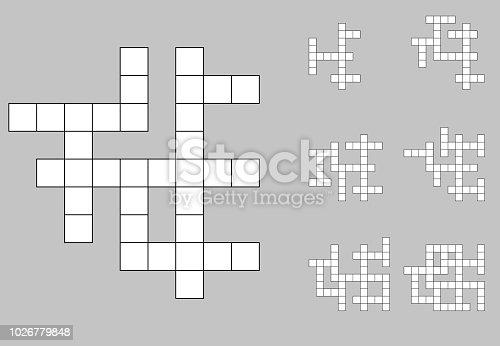 Crossword empty set . Scrabble crosword background vector