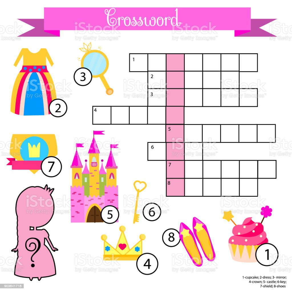 Crossword For Girls Educational Children Game With Answer Princess Theme Learning Vocabulary Royalty