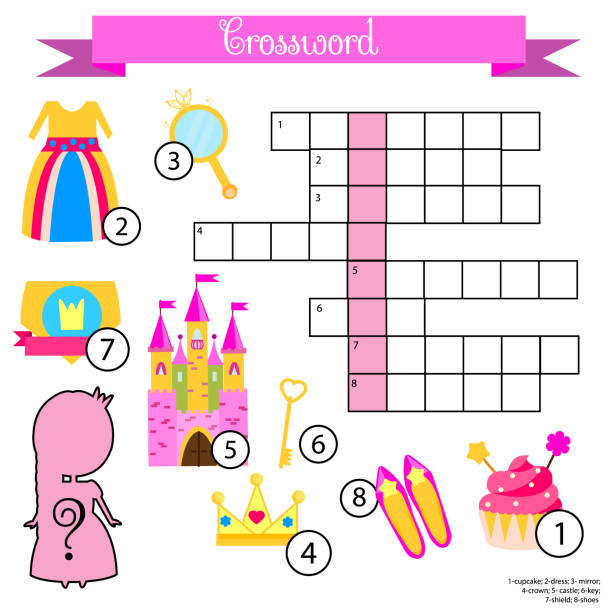 Crossword for girls. Educational children game with answer. Princess theme. Learning vocabulary vector art illustration