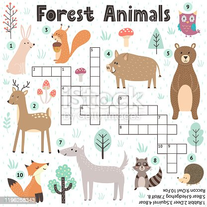 Crossword game for kids with cute forest animals. Search the words puzzle. Educational worksheet for children. Printable template of school and preschool activity. Vector illustration