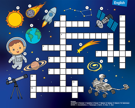 Vector Crossword in English, education game for children about space