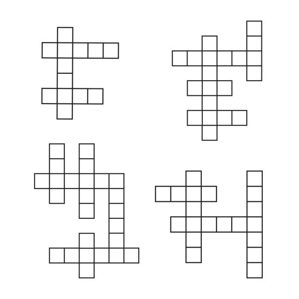 Crossword puzzle flat icons set. Vector crosswords template vector art illustration