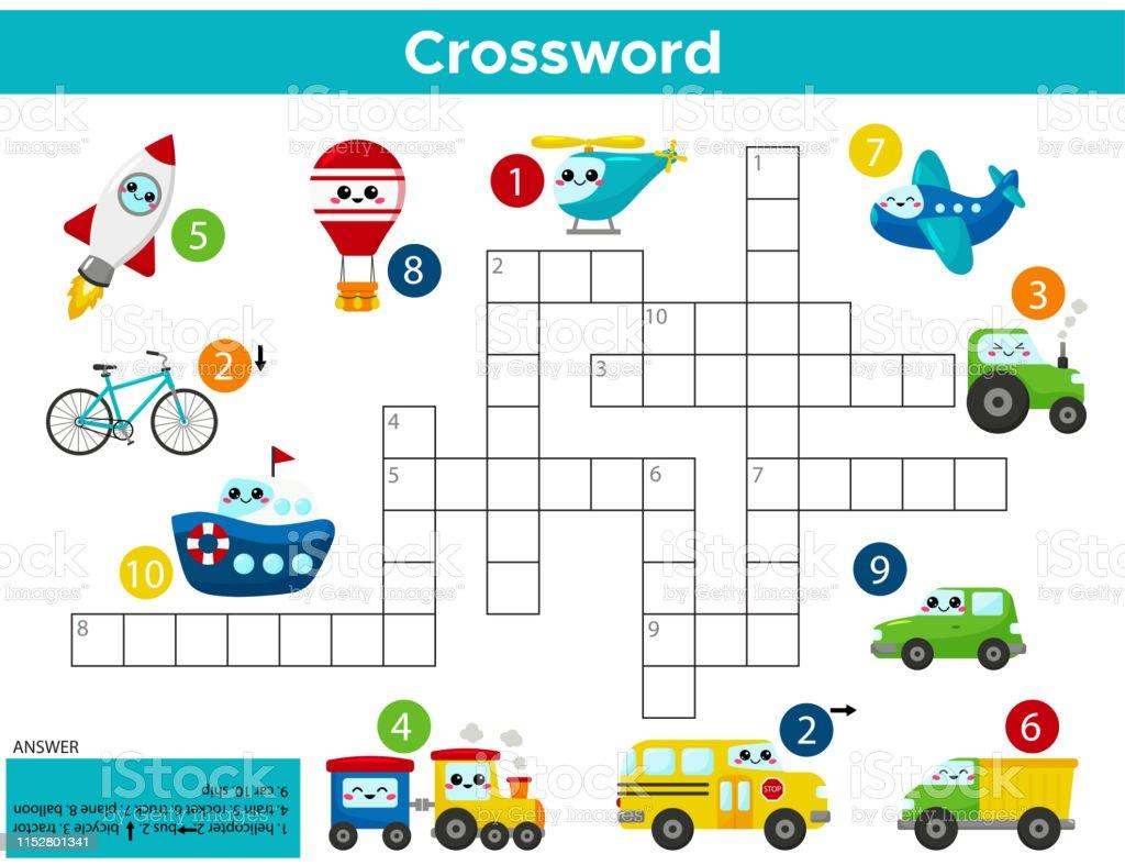 Kawaii Tasima Crossword Puzzle Oyunu Okul Oncesi Cocuklar Icin