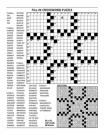 Crossword puzzle of 23x23 size and fill-in (criss-cross, or kriss-kross) style