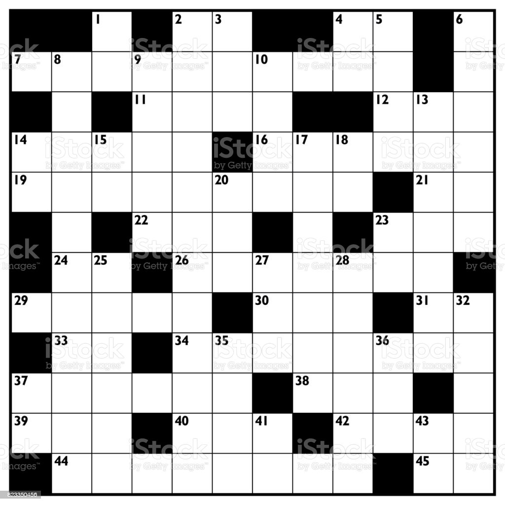 Crossword with empty boxes to insert any words for a clear message, brief heading or explicit information in keywords - square format template. vector art illustration