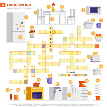 Crossword with huge set of illustrations and keyword in vector flat design isolated on white background. Crossword 4 - Kitchen - learning English words with images