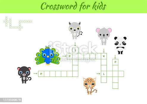 istock Crosswords game of animals for children with pictures. Kids activity worksheet colorful printable version. Educational game for study English words. Includes answers. Flat vector stock illustration. 1223599678