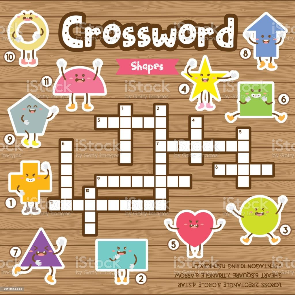 crosswords puzzle game of shapes for preschool kids activity