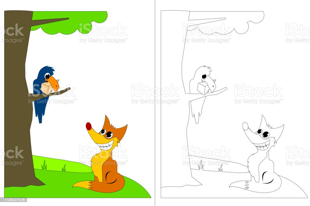 Karga Ve Fox Fable Boyama Kitabi Stok Vektor Sanati Aktivite Nin