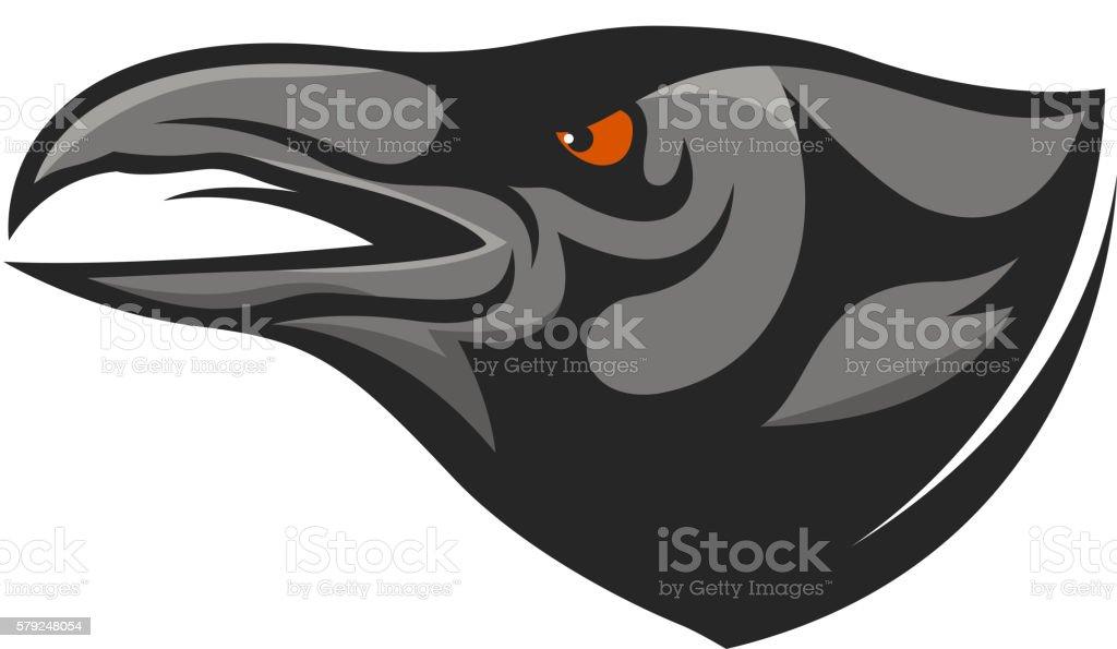 Crow head mascot. Raven head illustration.
