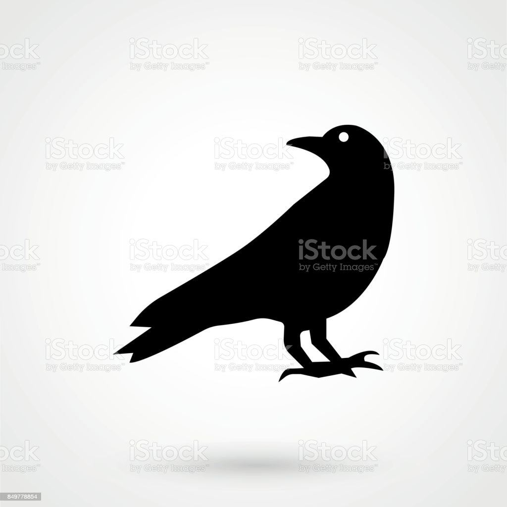 Crow icon silhouette vector illustration vector art illustration