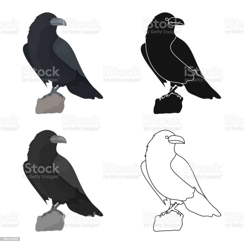 Crow of viking god icon in cartoon style isolated on white background. Vikings symbol stock vector web illustration. crow of viking god icon in cartoon style isolated on white background vikings symbol stock vector web illustration - stockowe grafiki wektorowe i więcej obrazów antyczny royalty-free