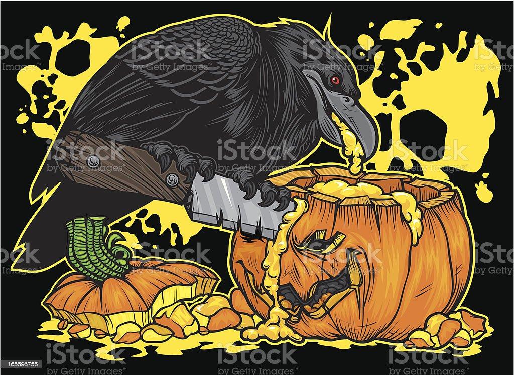 Crow on Halloween Pumpkin royalty-free crow on halloween pumpkin stock vector art & more images of animal