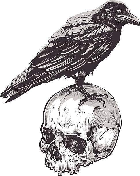 クロウのスカル - 鳥のタトゥー点のイラスト素材/クリップアート素材/マンガ素材/アイコン素材