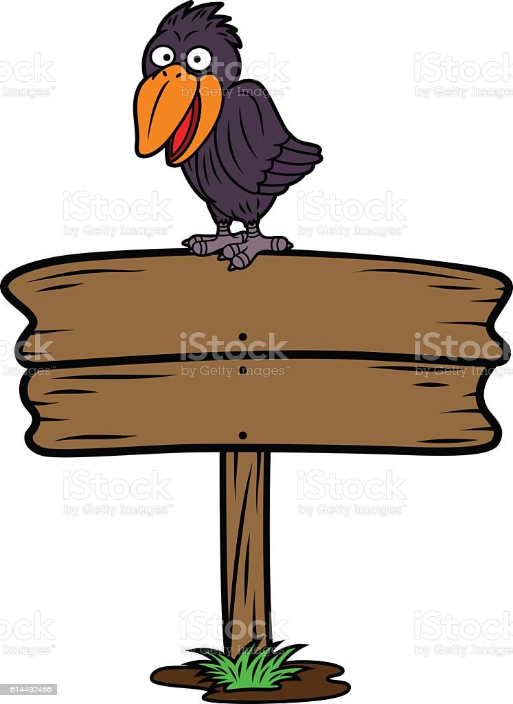 Crow on Wooden Board Sign vector art illustration