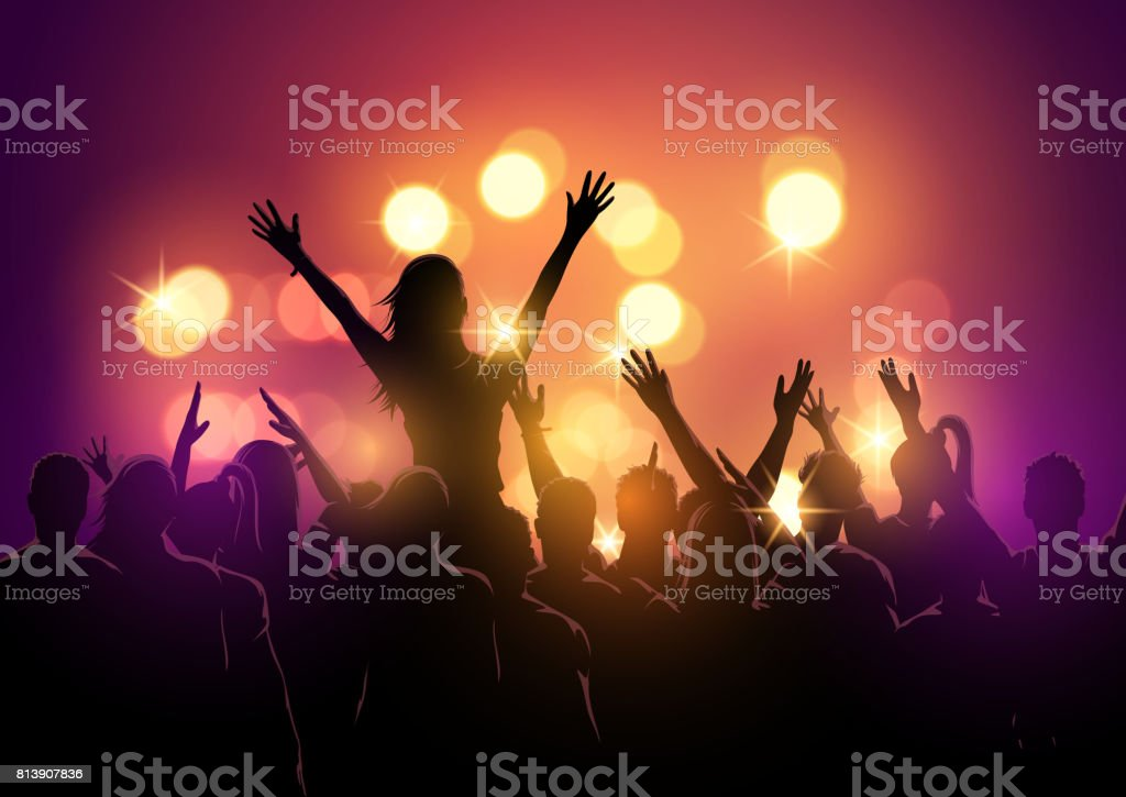 crowd at a music festival vector art illustration
