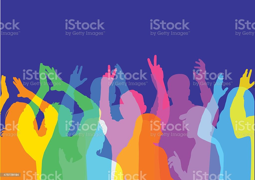 Crowd at music or sport event vector art illustration