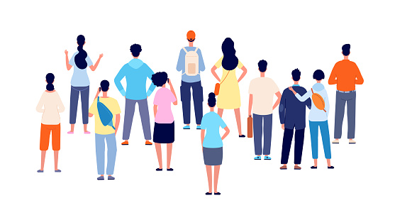 Crowd back view. Cartoon persons, people group standing backs. Flat public young man woman meeting, office business audience vector concept