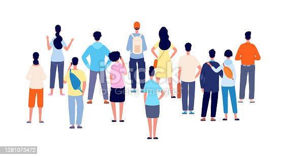 istock Crowd back view. Cartoon persons, people group standing backs. Flat public young man woman meeting, office business audience vector concept 1281073472