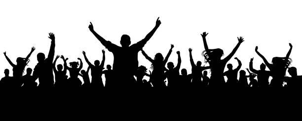illustrazioni stock, clip art, cartoni animati e icone di tendenza di crowd cheer people silhouette. applauding audience - concerto