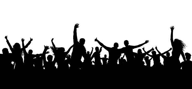illustrations, cliparts, dessins animés et icônes de silhouette de foule de gens joyeux. joyeux groupe de jeunes gens dansant fête musicale, concert, discothèque. foule joyeuse. les amateurs de sports, applaudissements, réjouissant. vecteur sur fond blanc - cage animal nuit
